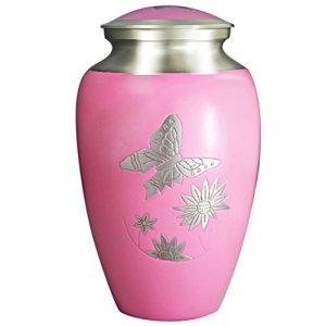 M MEILINXU Urnes funéraires des Cendres, Cendres humaines Adultes crémation urne – Affichage urne funéraire à la Maison ou dans des niches au Columbarium (Rose Papillon