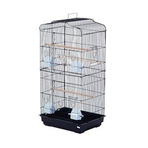 Pawhut Cage à Oiseaux avec mangeoires perchoirs 48 x 36 x 91 cm Noir