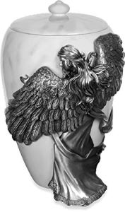 The Coffin Company Urne funéraire funéraire en étain Motif Anges Effet Nacre 38,1 cm Taille Adulte