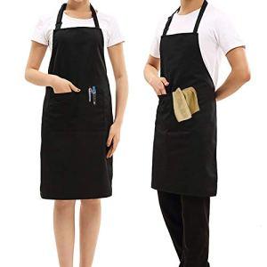UNIGIFT 2 Tabliers réglables avec Poches, pour Cuisine, café, Jardin, poterie, Restaurant, Barbecue, Tabliers pour Homme et Femme Noir
