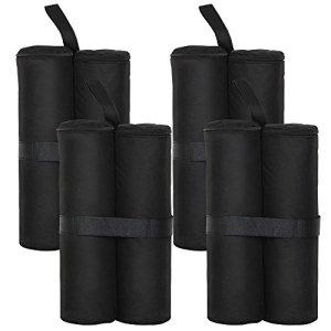 Yahee 4pcs sac de sable lestage pieds de tonnelle noir -stabiliser la tonnelle pavillon gazebo tente parasol-contrepoids lester avec sable-26 x 13 x 46 cm