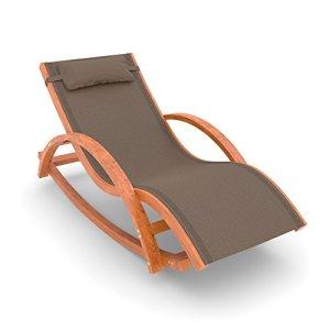 Ampel 24 – Chaise à Bascule de Jardin Rio/Fauteuil 170x70cm / Chaise Longue en Bois de mélèze/avec Coussin