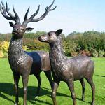 Cerf Paire composé de cerf et Doe fabriqué en bronze
