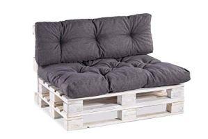 Coussins pour palettes, siège, appui, mousse, matelassée PP Set (Siège 120×80 + Appui 120×40, Anthracite)