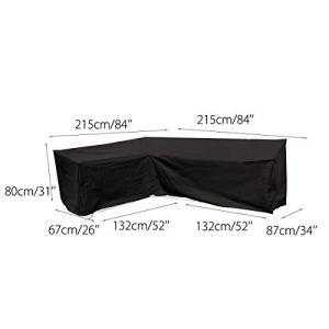 dDanke étanche protégé Contre la poussière Polyester Noir Housse en Forme de canapé d'angle extérieur pour terrasse Jardin Salon Canapé (215x 215x 87x 80cm)