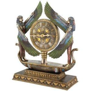 Design Toscano WU71647 Horloge sculptée néo-égyptienne Les Ailes d'Isis, Multicolore, 12,5 x 34,5 x 40,5 cm