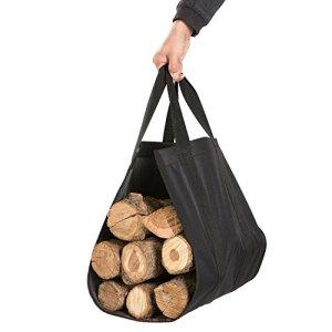 DOEWORKS Sac de Transport en Toile Robuste pour bûches de Bois de Chauffage Noir 104 cm x 40 cm