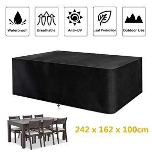 Fayttoli Housse de Protection pour Mobilier de Jardin, Bâche de Protection en Tissue Oxford 420D Impermeable, pour Table et Chaise Meubles d'extérieur, 242 x 162x 100cm Noir