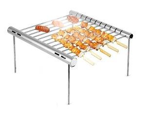 GMM Barbecue Portable en Acier Inoxydable avec Mini feu Pliable Groupe Gris argenté