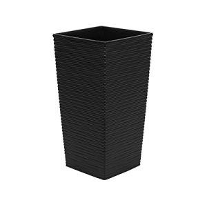 Haut 57 cm pot de fleur en plastique Finezja sculpté, en noir