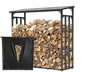 QUICK STAR Étagère en métal pour Bois de cheminée Anthracite XXL 185 x 70 x 185 cm Distance Entre Le Bois de cheminée 2,3 m3