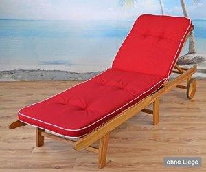 sun garden 2Lits auflagen tomiro Swarovski–33en Rouge 189x 60x 6cm (sans Chaise Longue en Bois)