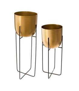 Atmosphera – Lot de 2 Pots Ronds dorés avec Supports en métal
