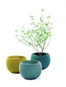 Curver Cozies Pots de Fleurs Aspect Tricot Trio, Bleu Gris, Citron Et Océan, 15 x 15 x 11 cm