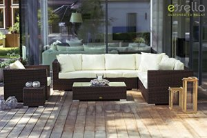 Essella Miami Salon de jardin en polyrotin 1,4 mm Brun bicolore