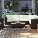 Essella Miami Salon de jardin en polyrotin 1,4 mm Brun bicolore