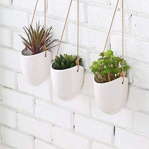 Kazai. | Pot Céramique pour Plantes Suspendues | Lot de 3 | Décoration Murale