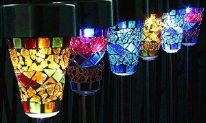 KEEDA® Lampe de Jardin en mosaïque Solaire Rechargeable pour extérieur ou Jardin de Noël, décoration de Chemin. 6pcs