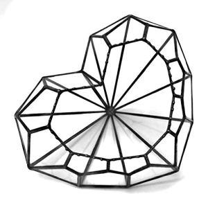 Lekoky Love Heart Terrarium en Verre géométrique Motif cœur Fait Main en Angleterre, Verre, Noir, Mega