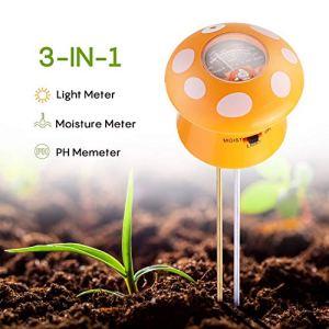 Ulikey 3 en 1 Testeur de Sol Mètre d'Humidité, Lumière, PH – Capteur d'Humidité du Sol pour Jardin, Ferme, Pelouse, Intérieur et Extérieur (Pas Besoin de Pile)