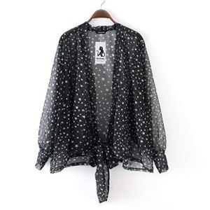 Viewk Mode Femmes Étoiles Étoiles dans la Nuit Imprimer Mousseline De Soie Courte Lace Up Sun Protection vêtements Cardigan Blouse Loose Top Outwear