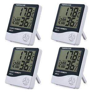 4 Morceaux Lcd Digital Hygromètre Thermomètre Humidité Intérieure Contrôle Température Capteur de Température Humidité Indicateur avec Date Heure Alarme Réveil Hygromètre et Support