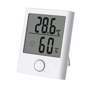 ABsuper Mini Thermomètre/Hygromètre Intérieur, Température Humidité Numérique Électronique,℃/℉Commutable,Indication du Niveau de Confort Mignon pour Maison Confortable-Blanc