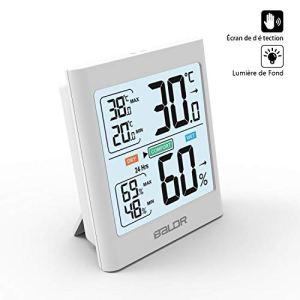 ABsuper Thermomètre Hygromètre Intérieur, Température Humidité Électronique, ℃/℉Commutable, Mémoire de Max/Min, Écran de Détection, Lumière de Fond, Indication de Confort Coloré-Blanc
