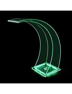 Eclairage LED RVB transparent en acrylique cascade pour votre piscine au design moderne.