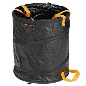 Fiskars Sac à végétaux pliable avec poignées, Capacité: 56 litres, Noir/Orange, Solid, 1015646