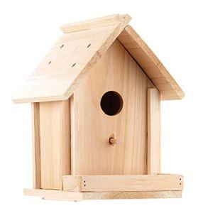 Grand nichoir en bois véritable avec balcon et kit de peinture