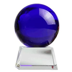 Gze Boule De Cristal Bleue avec Support, Représentant L'amitié éternelle (Logo Ou Salutations Personnalisables) 200mm