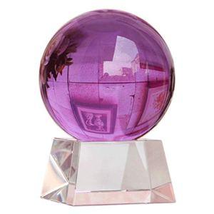 Gze Boule De Cristal Violette avec Support Représentant l'amour éternel (Logo Personnalisable Ou Salutations) 200mm