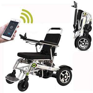 HIZH Fauteuil Roulant éLectrique, Intelligent Petit Portable en Alliage D'Aluminium TéLéCommande Accessible Aux Personnes HandicapéEs Scooter