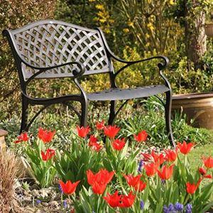 Lazy Susan – Banc de Jardin en Aluminium Jasmine, Coloris Bronze Ancien (Coussin Beige)