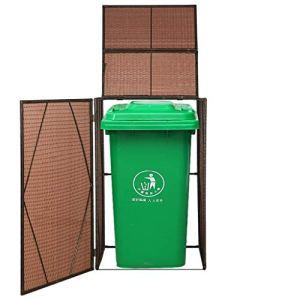 mewmewcat Cache-poubelles à roulettes en Résine tressée Abri Poubelles de Jardin 76 x 78 x 120 cm (l x P x H) Marron