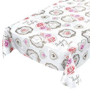 Nappe en toile cirée – Lavable Amour – Roses – Fleurs – Antique – Cœur – Gris – Taille au choix, Toile cirée, gris, 140 x 140cm