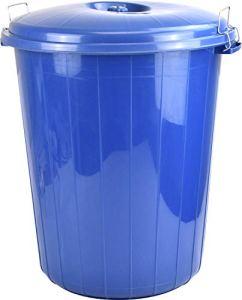 Planet Poubelle de jardin avec couvercle verrouillable Bleu 50 l