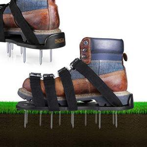 TACKLIFE Chaussures de Gazon,Aérateur de Gazon, 8 Sangles Réglables et Boucles d'alliage de Zinc, Résistantes 13 x 5.5 cm Clous en Acier, Taille Universelle Idéal pour Aérer Votre Gazon | GAS1A