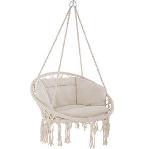 TecTake 800708 Fauteuil Suspendu Relax Design de Jardin en Coton, 1 Place, Intérieur et extérieur, Coussins Confortables Inclus – Couleur au Choix – (Beige | no. 403205)