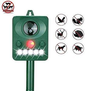 TNUGF Répulsif Anti Animaux Chat Extérieur, Lecteur Solaire d'animaux, Flash de lumière Infrarouge à ultrasons