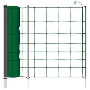 Voss.farming Filet électrifiable de clôture pour Moutons, chèvres Classic+, Longueur 50 m, Hauteur 90 cm, 20 piquets, 1 Pointe, Vert