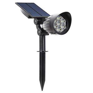 ZNN Projecteur Solaire 7LED imperméable à l'eau réglable en surbrillance Cour extérieure Mur lumière éclairage Rue Plug Convient pour Jardin Garage Drive Porche Piscine terrasse