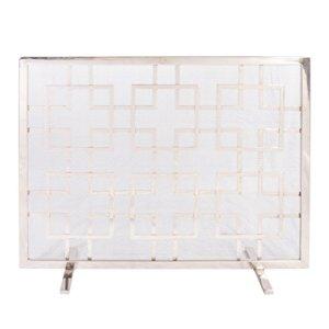 Dibor Portable sur Pied Argent mosaïque Foyer d'écran pour Protection à partir de Sparks