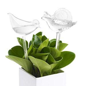 Lot des 2 Globes d'Arrosage en Verre Jardin Arrosoir Automatique en Forme d'Oiseau et en Forme d'Escargot Goutte à Goutte Arrosage Outil pour Plantes Verte et Plantes d'Appartement