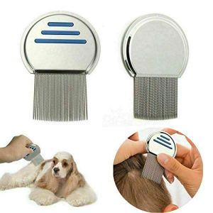 Pet Grooming Peigne en acier inoxydable pour chien et chat 6.7 * 9.7cm argenté