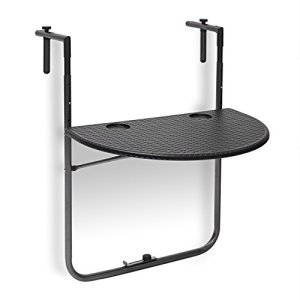 Relaxdays Table de balcon pliante pliable appoint table suspendue rabattable BASTIAN rotin hauteur réglable l x P: 60 x 40 cm, noir