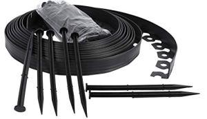 Ribbobboard 4.0 kit de bordure de jardin Plastique 10 metres pour les bordures, chemins, Pelouse + 40 Piquets de sécurité