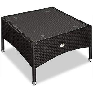 Table d'appoint / table basse en polyrotin – 58×58 x42cm – Noir – Maison/Jardin