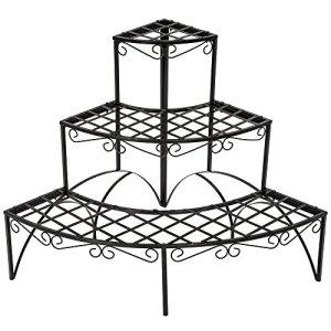 TecTake Etagère de jardin pour plantes escalier en fer 3 niveaux env. 60x60x60cm – charge max: env. 30 kg – diverses modèles (Ronde | no. 401712)